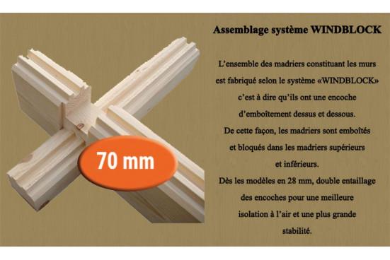 Garage en bois DAX 70mm madriers contrecollés