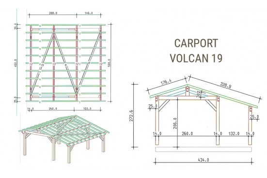Carport 2 voitures Volcan 19 - 24.20 m² non couvert