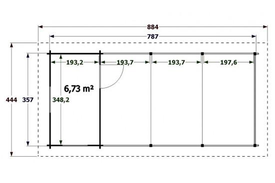 Carport garage bois Trouville symétrique - 39,25 m² couvert