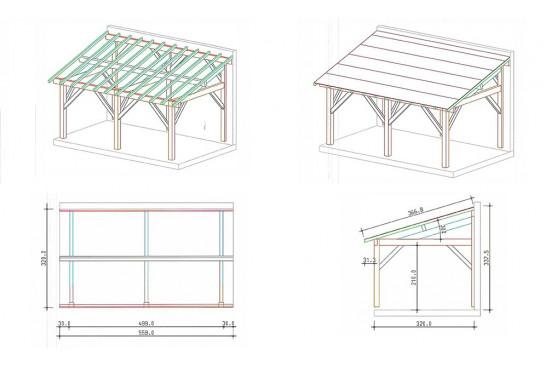 Carport bois Dinard - 19.6 m² couvert