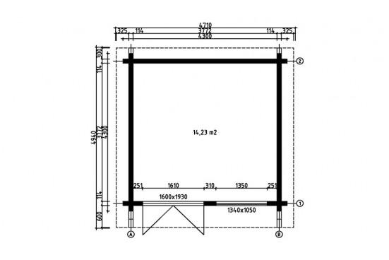 chalets en bois BAYONNE 114 CC - 14.23m² intérieur