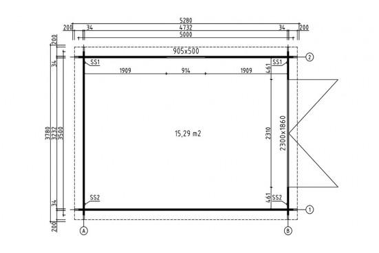 Garage bois NANTERRE 34mm - 15,3m² intérieur